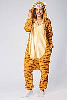 Пижама Кигуруми Тигр для детей от 120 см и взрослых, женская и мужская из качественного велсофта