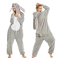 Пижама Кигуруми Кролик серый для взрослых от 145 см, женская и мужская из качественного велсофта