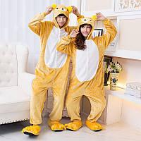 Пижама Кигуруми Желтый Медведь для детей от 145 см и взрослых, женская и мужская из качественного велсофта