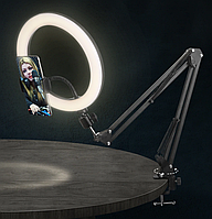 Кольцевая настольная LED лампа 26 см для предметной фото/видео съемки с держателем на стол