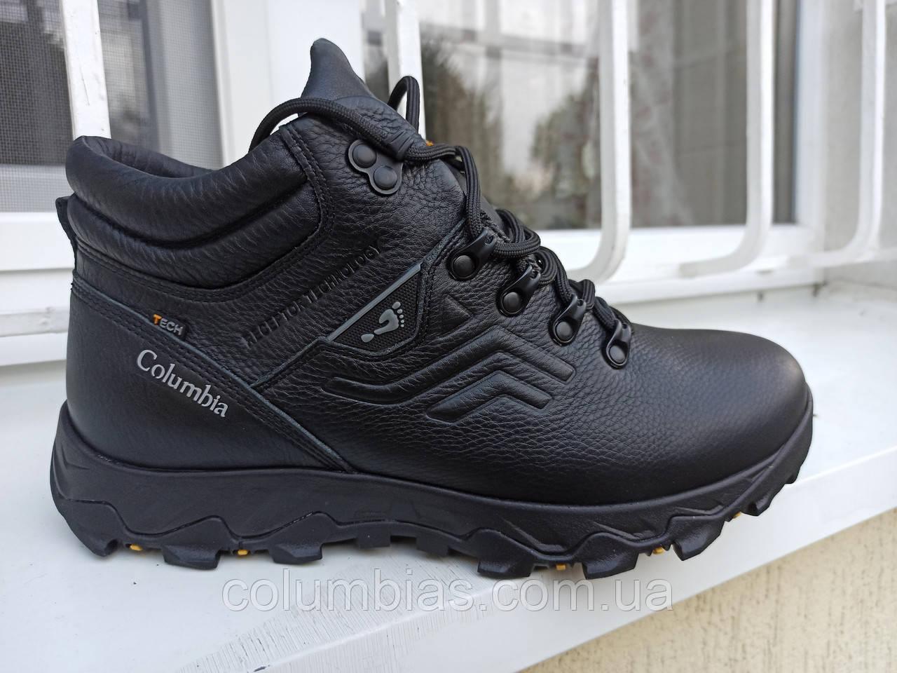Зимние кожаные ботинки columbia termo