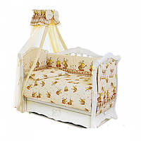 Комплект постели в детскую кроватку с балдахином и бортиками 8 элементов Twins Comfort С-031 Пчелки, бежевый