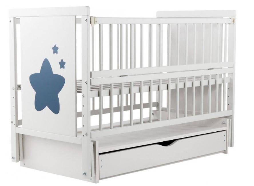 Детская кроватка Дубок Звездочка  маятник+ящик, Белая