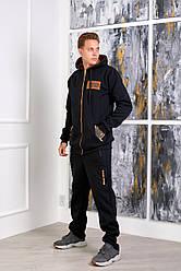 Чоловічий теплий трикотажний костюм зі вставками із замші
