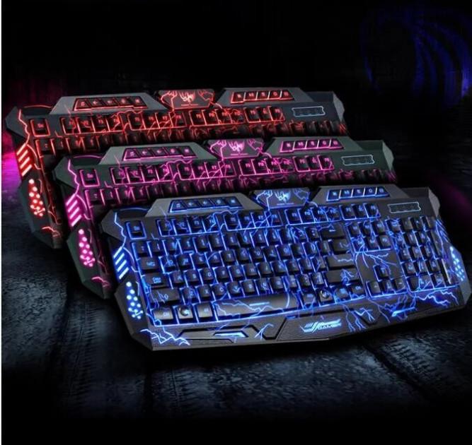Профессиональная проводная игровая клавиатура с 3 цветами подсветки Razer с Молниями Atlanfa M200L