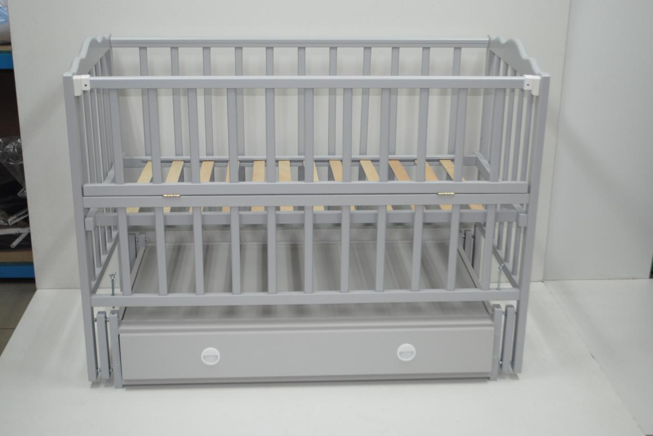 Детская кроватка Кузя Анастасия маятник+ящик, Белая