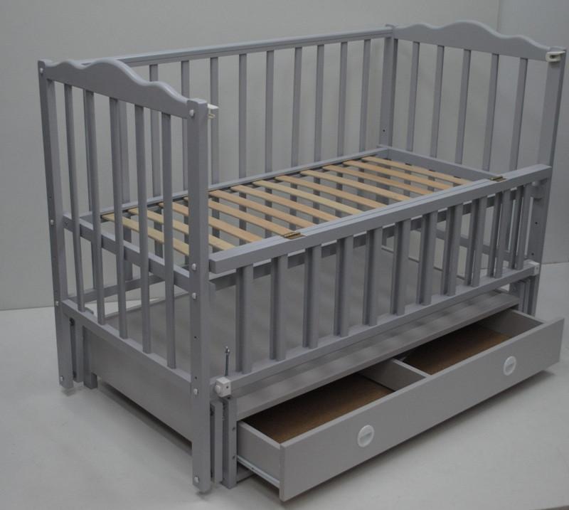 Дитяче ліжечко Кузя Анастасія маятник+ящик, Сіра