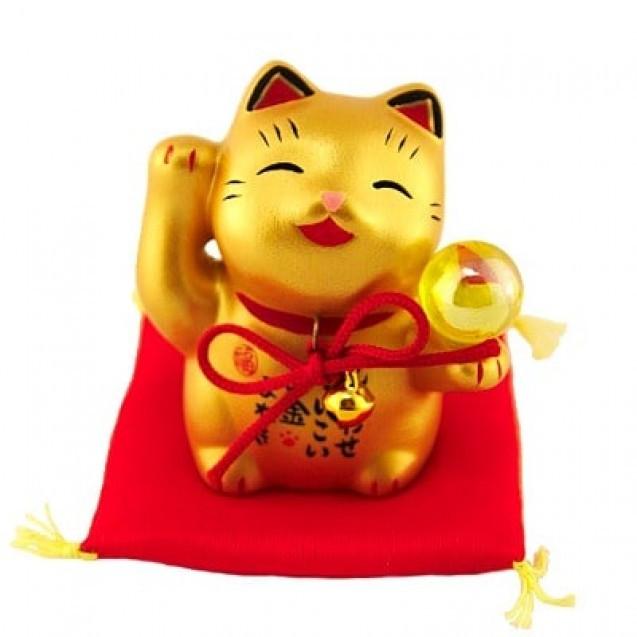Золотой манеки-неко «С жемчужиной»