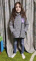 Детская теплая зимняя куртка для девочки рефлективная светоотражающая на зиму синяя снежинки 6-7 лет, фото 3