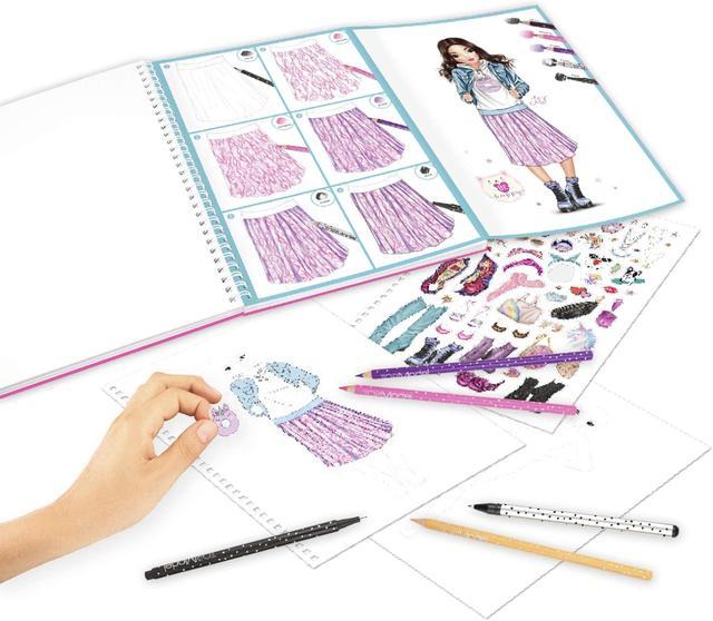 Depesche TOPModel 10049 Colouring Book with 10 Colouring Pencils, Eraser and 4 Fine Pens