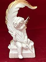 Гіпсова фігурка статуетка Ангел поет, золото, 23 см