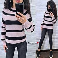 Женский теплый свитер в полоску
