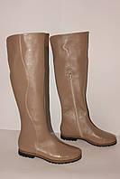 Высокие кожаные сапоги на плоской подошве., фото 1