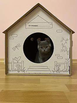 Картонный домик для кота 45*45*44 см