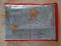Комплект детского постельного белья в кроватку Мишки, бязь Голд Люкс, 110х140 см