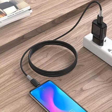 М'який силіконовий кабель MicroUSB Hoco X48 Soft silicone charging 2.4 A 1m Black, фото 2