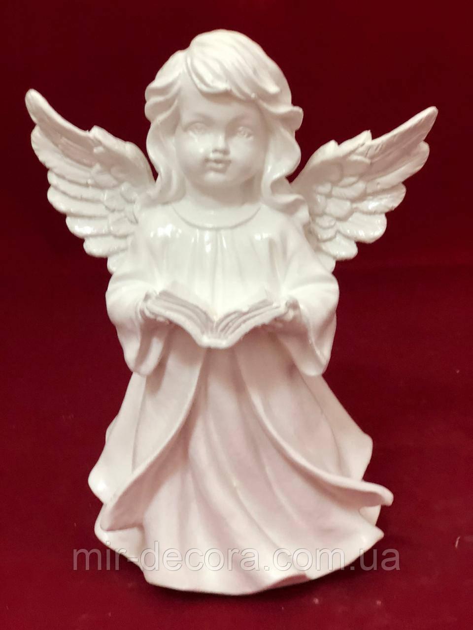Статуэтка для декора Ангел с книгой новый, белый, 24 см