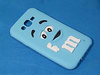 Объемный 3D силиконовый чехол для Samsung Galaxy J7 J700 M&M's голубой