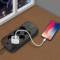 Сетевой удлинитель фильтр LDNIO SE6403, 6 Розетки + 4 USB, 2 м, сечение 3х0,75мм, Black