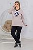 Женский повседневный костюм из стеганного и французского трикотажа Бежевый размеры 48-56, фото 4