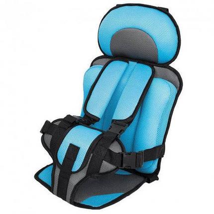 Портативное бескаркасное детское автокресло, Удобное дышащее регулируемое с 1 до 12 лет Голубой, фото 2