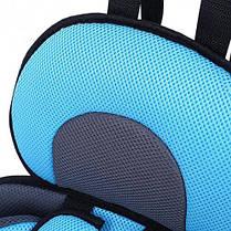 Портативное бескаркасное детское автокресло, Удобное дышащее регулируемое с 1 до 12 лет Голубой, фото 3