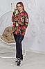 Женский повседневный костюм из принтованного трикотажа и ангоры размеры от 50 до 56, фото 3