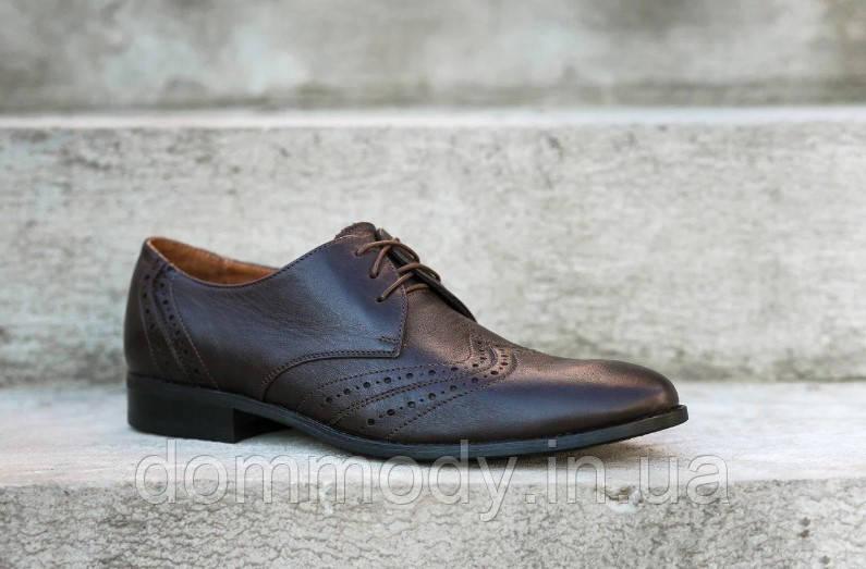 Туфли броги мужские коричневого цвета Classic model