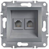 Розетка телефонная RJ11 4 контакта двойная цвет сталь Asfora EPH4200162