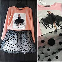 Красивый комплект для девочки. (Кофта и фатиновая юбка) Размер 116,122