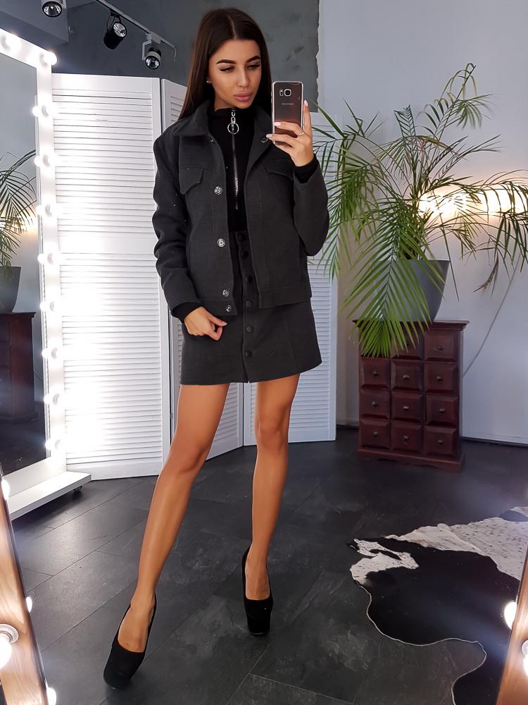 Кашемировая темно-серая куртка на нейлоновой подкладке