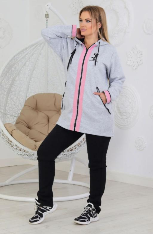 Женский утепленный костюм с удлиненной курткой размеры 50, 52, 54