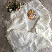 Крыжма-плед для крещения и выписки теплый с апликацией ангел