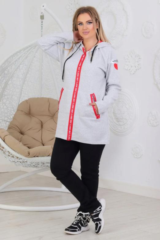 Женский утепленный костюм с удлиненной курткой размеры от 48 до 58