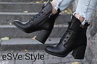 Ботинки- полусапожки кожаные женские на каблуке