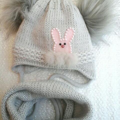Шапочка вязка с шарфом на холофайдере для девочки