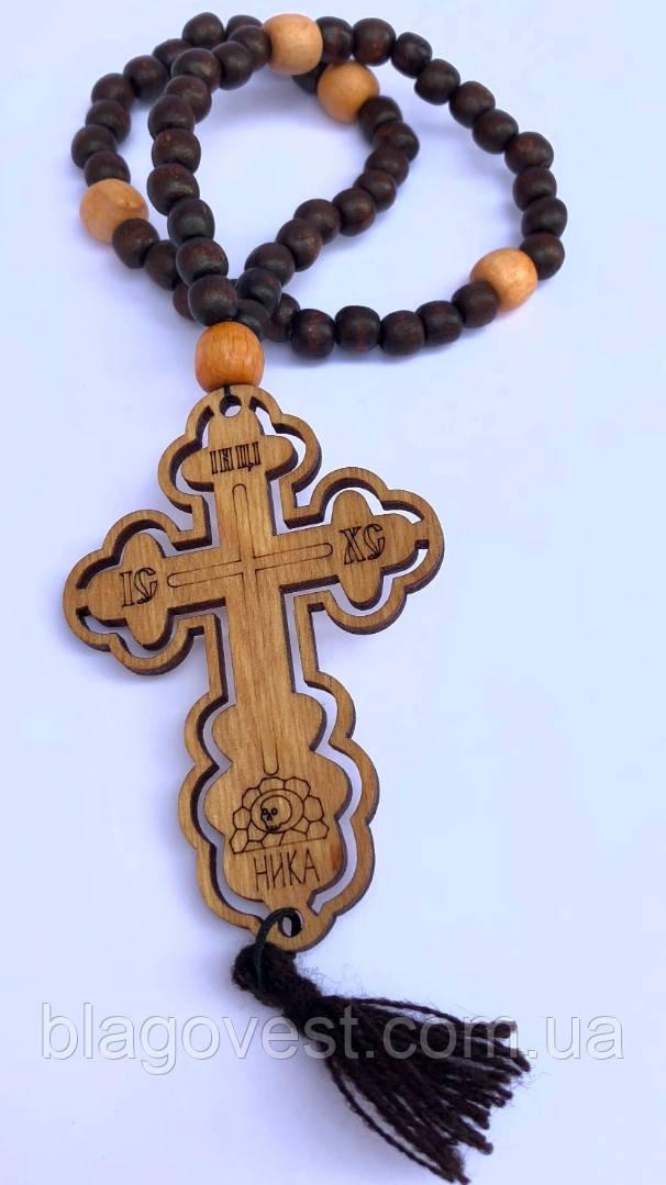 Підвіска на бусах, хрест вызженный (хрест 5х8см.) До