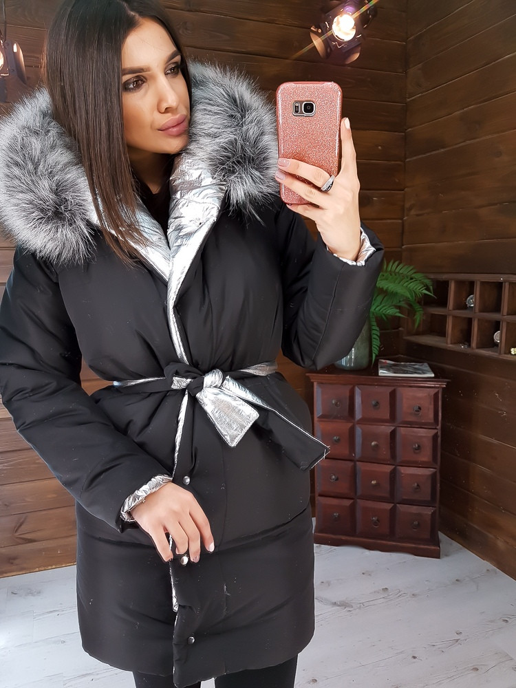 Двухсторонняя дутая куртка приталенное поясом
