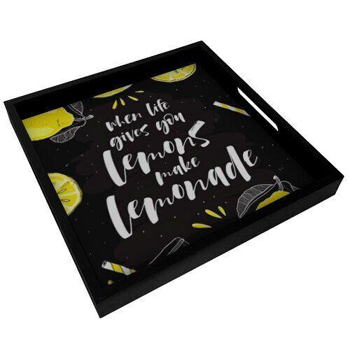 Деревянный поднос с принтом Present «When life gives you lemons make lemonade» PDN_19N009_BL