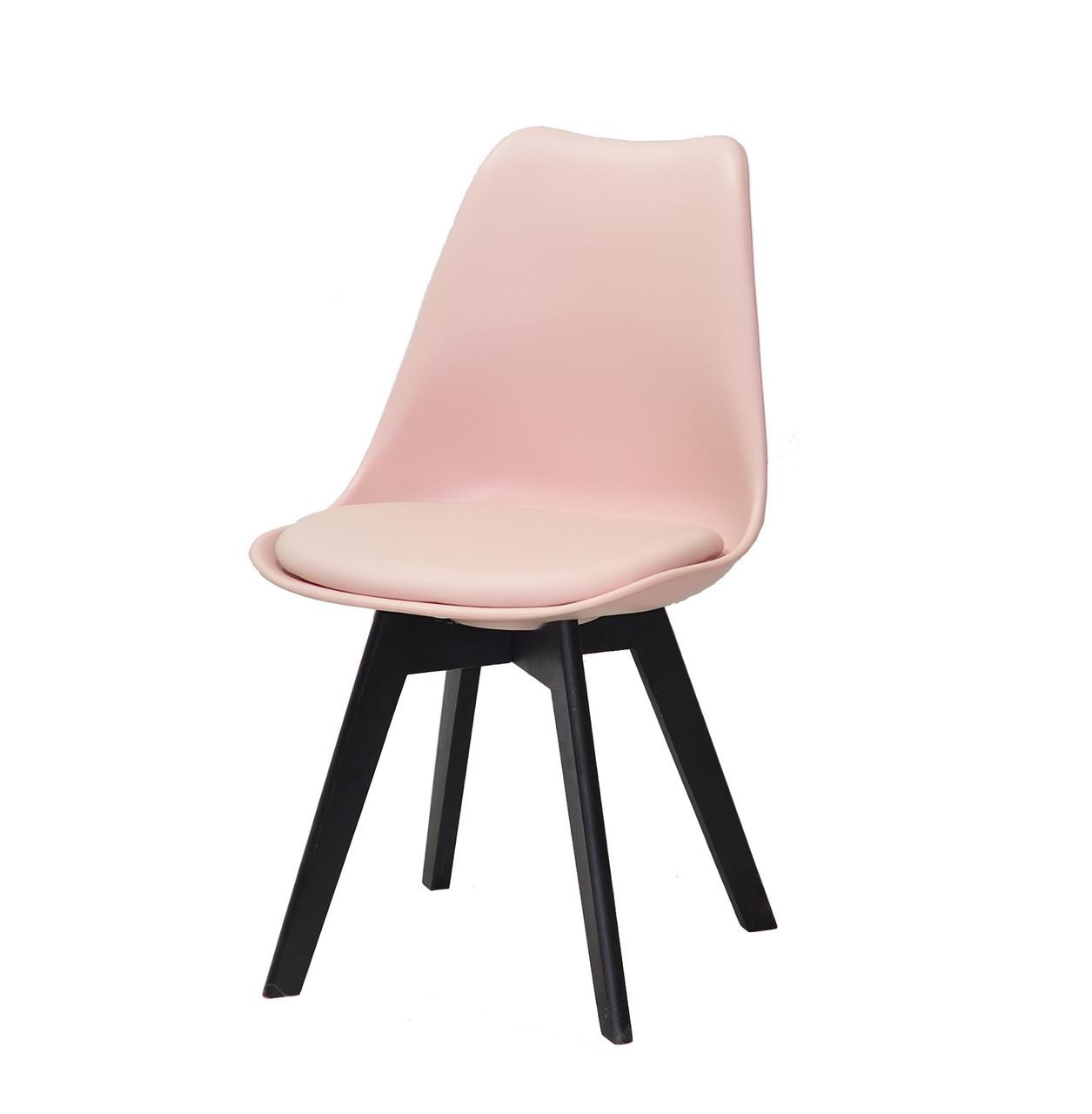 Стул розовый с пластиковой спинкой и сиденьем эко-кожа Milan на черных деревянных ножках