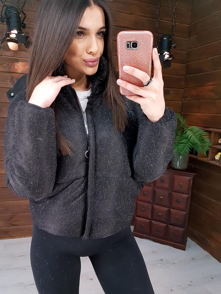 Блестящая укороченная куртка из люрекса  черного цвета