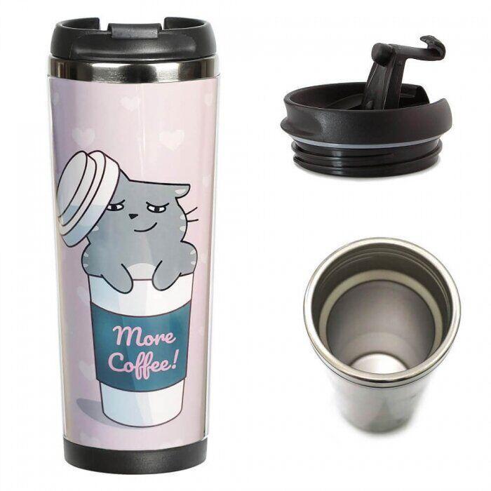 Термокружка ZIZ «Котик — кофеман» 21073