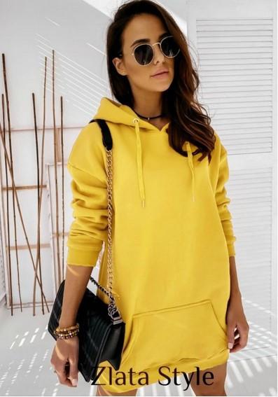 Зимнее короткое платье батал желтого цвета
