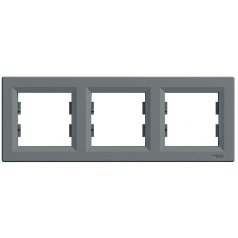 Рамка 3-постовая горизонтальная цвет сталь Asfora Schneider EPH5800362