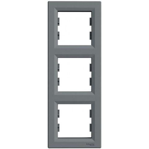Рамка 3-постовая вертикальная цвет сталь Asfora Schneider EPH5810362