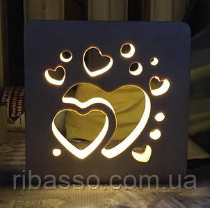Ночник Сердечки 16*16*3 см BST 750019
