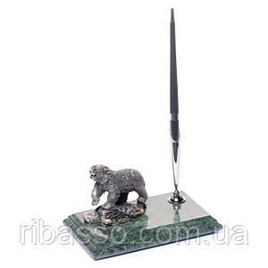 Подставка для ручки 16х10 мраморная Медведь