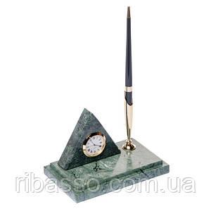 Подставка на стол с часами для ручки 16х10 мраморная Пирамида