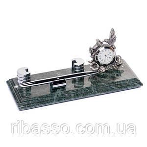 Настольная визитница 24х10 с подставкой под ручку и часами мраморная