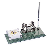 BST Подставка настольная для ручки 540051 24х10 с часами и фиксатором бумаг мраморная